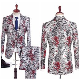 19d412102c13 Tuxedo suiTs men prinTed vesT online shopping - Floral Print Men Tuxedos  Custom Casual Groom Groomsmen