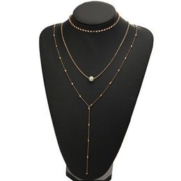 chocker necklace sets UK - 3PCS Rhinestone Faux Pearl Pendant Necklace Set Ladies Chocker Collares De Moda Women Chain Necklace Fashion Jewlery Golden 2019