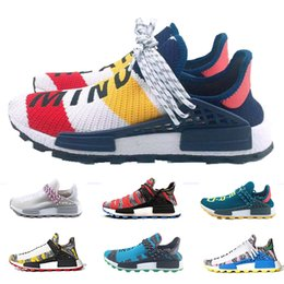 dcefd3ff780f2 2019 New NMD Human Race Mens Running Shoes Best Quality Heart Mind Nerd  Aqua Nerd White Yellow Pharrell Williams Sports Designer Sneakers