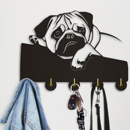 Towels For Dogs Australia - 1Piece English Bulldog Clothes Hooks Lovely Puppy Dog Animal Silhouette Wall Hanger Towels Hooks Nursery Decor For Bathroom