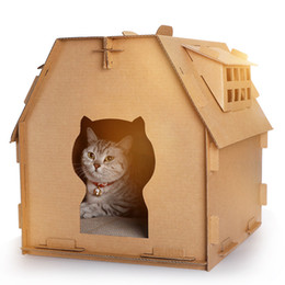 small toy houses Australia - Pet Furniture DIY Carton Box Cat House Have Small Window Tools Scratch Board Self Assembly Kitten Indoor Corrugated Paper Toys free shiping