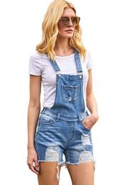 Denim Shorts Straps Australia - 2019 Stylish Raw Hem Ribbed Light Blue Denim Overalls Shorts Girl Summer Adjustable Strap Shorts. Loose Distressed Shorts for Woman