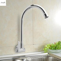 Single Wall Kitchens Australia - Bathroom Single Handle Single Cold Tap Kitchen Water Faucet 360Rotatable Wall Mounted Basin Sink Faucet Spout