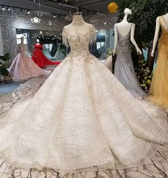 Wedding Dresses Flowered Embroidery Australia - Luxurious Ball Gown Wedding Dresses Court Vintage Handmade Beading Beads Crystal High Neck Floral Appliques Embroidery Bridal Dresses