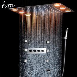 "Shower Spa Jets Australia - Shower Spa Brass Square Massage Jets Spray Body Shower Set Chrome Finish Thermostatic 20"" Ceiling Mount LED Rain Shower Faucet 20180927#"