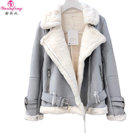 Discount lamb suede - Yuxinfeng Winter Suede Lambs Wool Jacket Female High Streetwear Casual Plus Cashmere Thicken Warm Long Sleeve Fur Suede