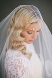 Two layer walTz veil online shopping - Hot Elegant fashion Two Layer Waltz Length Cut Edge Custom White Ivory Alloy Comb Wedding Veil Meidingqianna Brand