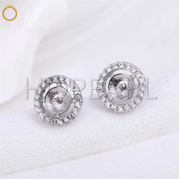 wholesale 925 round stud earrings UK - HOPEARL Jewelry Simple Circle Round Cubic Zirconia Stud Earring Pearl Mounts 925 Sterling Silver DIY Making