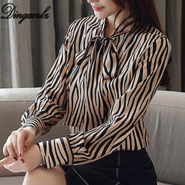 Blusas femininas online shopping - Dingaozlz blusas femininas elegante New  striped Chiffon shirt long sleeve Women 7663d1416f6da