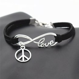 $enCountryForm.capitalKeyWord NZ - Fashion Causal Antique Silver Peace Symbols Round Cross Charms Pendants Black Leather Suede Bracelets for Men Women Peace Sign Jewelry Gifts