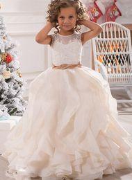 $enCountryForm.capitalKeyWord NZ - Custom Made Flower Girl Dresses for Wedding Pink Princess Tutu Sequined Appliqued Lace Bow Vintage Child First Communion Dress