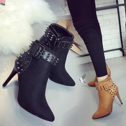 $enCountryForm.capitalKeyWord NZ - Sexy2019 European Rivet Short Boots Woman Down Noodles Split Joint Belt Buckle Sharp Coarse With High-heeled Ma'am Martin The Shoe Side Zipp