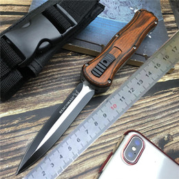 Survival knife wood online shopping - Tactical knife Spring Assisted knives Military Fixed Blade Double Edge Combat Survival Knifes Aviation Wood handle