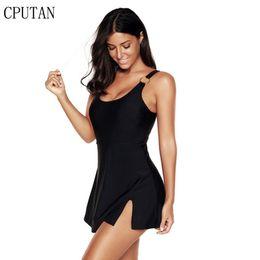$enCountryForm.capitalKeyWord Australia - 2019 New Swimwear Tankini Black One Piece Plus Size Women Large Size Swimdress Swimsuits Push Up Soild Color Beach Bathing Suit Y19062901