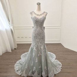 $enCountryForm.capitalKeyWord Australia - Elegant Gray Lace Mermaid Evening Dresses 2019 Saudi Arabic Appliques Prom Gowns Bow Backless Formal Dress Vestido De Festa