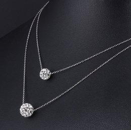 $enCountryForm.capitalKeyWord Australia - double necklace crystal ball pendants sterling silver 925 chains women's jewelry charming fashion show girl friend birthday party gfits 6 pc