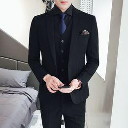 $enCountryForm.capitalKeyWord Australia - Pure Color Men's Formal Wear Suits Slim Elegant Men Wedding Groom Dress Size 48-56 Male Black Suit Jacket with Vest and Pants dsy079