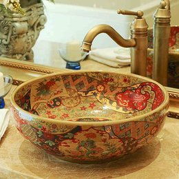 basin bowl sink Australia - Chinese Cloakroom Counter Top porcelain wash basin bathroom sinks ceramic art round bowl sink