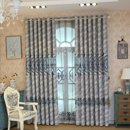 elegant living room curtains NZ - Modern chenille grey embroidered curtains for living room windows classic elegant high quality curtain for bedroom hotel