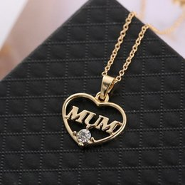 $enCountryForm.capitalKeyWord Australia - Contrast Color Crystal Heart Mom Necklace Pendant Hollow MumPendant Necklaces For Mother Day Gift Wholesale Fashion Jewelry 2019