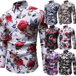 Wholesale brown long sleeve button up shirt for sale – plus size Trendy Mens Long Sleeve Floral Printed Shirt Male Slim Fit Button Up Shirts Tops Casual Fashion Beach Holiday Outfits