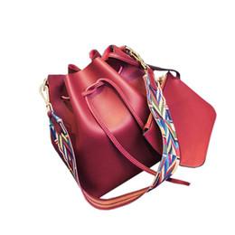 Colorful Buttons Bags UK - Women's Drawstring Handbag Soft PU Crossbody Bucket Bag with Colorful Strap Solid Color Shoulder Bag Satchel