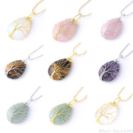 $enCountryForm.capitalKeyWord Australia - Tree of Life Wire Wrap Pendant Necklaces Water Drop Natural Stone Bohemian Healing Chakra Tiger Eye Charm Statement Jewelry Christmas Gift
