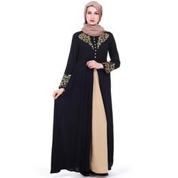 e85c31cb01852b Gold Stempeln Druck Muslim Kleid Frauen Dubai Abaya Schwarze Robe Langarm  Strickjacke Kaftan Elegantes Design Maxi Kleider Kleidung