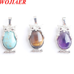 $enCountryForm.capitalKeyWord Australia - WOJIAER Eagle Animal Pendants Girl Chakra Reiki Natural Oval Convex Gem Stone Beads Jewelry DBN805