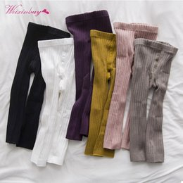 Cute Leggings Australia - Baby Kids Girls Cotton Solid Leggings Cute Casual Korean Style Warm Stretchy Leggings Trousers