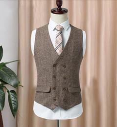 $enCountryForm.capitalKeyWord Australia - 2019 Double-breasted Tweed Vest Wool Herringbone Groom Vests Pockets Men's Suit Vests Slim Fit Men's Dress Vest Wedding Waistcoat