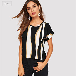 cuffs blouse Australia - Blouse Cuffed Sleeve Print Summer Block Top 2019 Elegant Round Neck Roll Up Sleeve Chic Color Short Sleeve Women Blouses