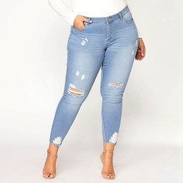 1ed02bcbf2297 High Waisted Ripped Jeans for Women Plus Size Pants Skinny Jeans Denim  Boyfriend Slim Stretch Holes Pencil Trousers 6XL 7XL