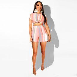 $enCountryForm.capitalKeyWord NZ - Tracksuit Ladies Fashion Nightclub Striped Women' s Clothing Plus Size Sexy Tight HOT Women TWO Piece Outfits S-XXL
