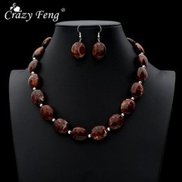 crazy earrings 2019 - Crazy Feng Vintage African Jewelry Sets For Women Oval Stone Beaded Necklaces Drop Earrings Set 2019 Fashion Jewelry NE+