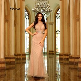 Beading Charms Australia - Finove Charming Champagne Evening Dress 2019 New Tulle Heavy Beading See-Through Formal Floor Length Dress Gowns For Woman
