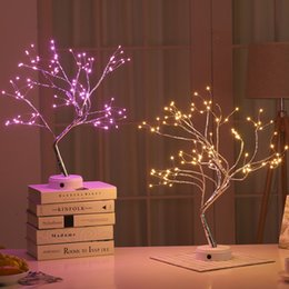 $enCountryForm.capitalKeyWord Australia - Bonsai Style Christmas Decoration DIY Night Light Touch Switch Control LED Tree Lights for Wedding Party Table Decor