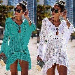 $enCountryForm.capitalKeyWord NZ - Summer Women Beachwear Sexy White Crochet Tunic Beach Wrap Dress Woman Swimwear Swimsuit Cover-ups Bikini Cover Up #q719 Q190521