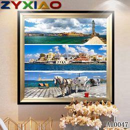 $enCountryForm.capitalKeyWord Australia - Mosaic home decor gift landscape seaside town horse 5D diy diamond painting cross stitch kit full round&square diamond embroidery toy A10047