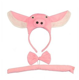 $enCountryForm.capitalKeyWord UK - Adult Child Boy Girl Pig 3D Headband Tail Tie Animal Cosplay Costume Set Party halloween costume for kids Christmas GB454