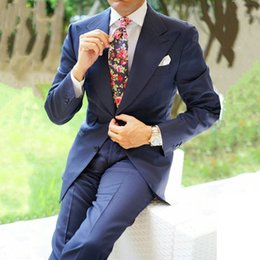 $enCountryForm.capitalKeyWord NZ - Wide Peaked Lapel Navy Blue Mens Wedding Suits Groom Tuxedos Prom Suits Latest Designs Terno Masculino Slim Fit Costume Homme Mariage 2Piece