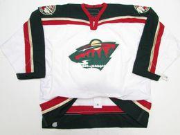 Minnesota Wild Jerseys Australia - Cheap custom MINNESOTA WILD AWAY TEAM ISSUED 6100 HOCKEY JERSEY stitch add any number any name Mens Hockey Jersey GOALIE CUT 5XL