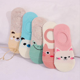 Ladies invisibLe socks online shopping - Women cute Invisible socks kawaii animal pattern ladies ankle sock Breathable absorbent invisible socks