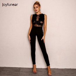 $enCountryForm.capitalKeyWord NZ - Joyfunear Summer Jumpsuit Women Lace Embroidery Back Zipper Bodysuits Hollow Out Stitching Sexy Romper White Black Wholesale MX190726