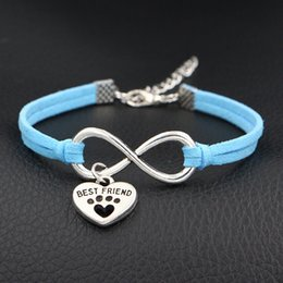 Best Christmas Gifts For Men Australia - Hot Sale Blue Leather Suede Handmade Braided Bracelet Bangles Infinity Love Dog Best Friend & Dog Paw Print Heart Jewelry Gift For Women Men