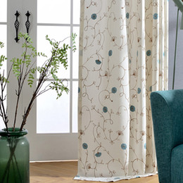 $enCountryForm.capitalKeyWord Australia - Gently dance American country small fresh modern rayon cotton embroidered curtain blue high blackout fashion comfortable wild