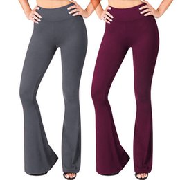 280e03a374db4 Women Solid High Waisted Broad Legged Yoga Pants Ladies Tight And Elastic Pants  leggings depo comperssion erings fly