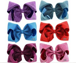 $enCountryForm.capitalKeyWord NZ - 8 Inch Popular Solid Design Fabric Hair Bows Clips Boutique Bling Bows For Kids Bowknot Headwear Hair Accessories A52