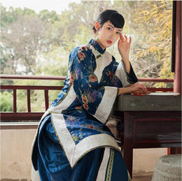 Discount chinese qing - Miss Lady Performing Dresses High End Hanfu Apparel China Qing Dynasty Women's Clothes Traditional Chinese Old-fash