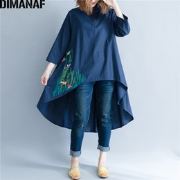 natural linen clothing NZ - omen's Clothing DIMANAF Women Blouse Shirt Long Sleeve Linen Thin Top Autumn Embroidery Femme Lady Large Loose Big Clothing Casual Plus S...